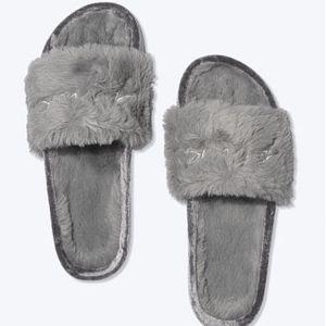 VS Pink Faux Fur Fuzzy Slides
